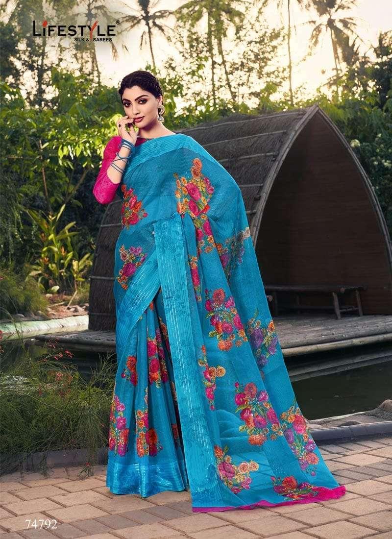 Lifestyle Akansha Puri Muslin Cotton Printed Sarees Collection 03