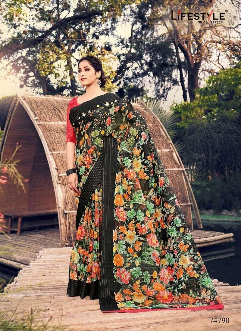 Lifestyle Akansha Puri Muslin Cotton Printed Sarees Collection 04