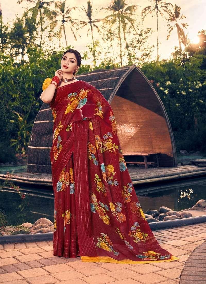Lifestyle Akansha Puri Muslin Cotton Printed Sarees Collection 05
