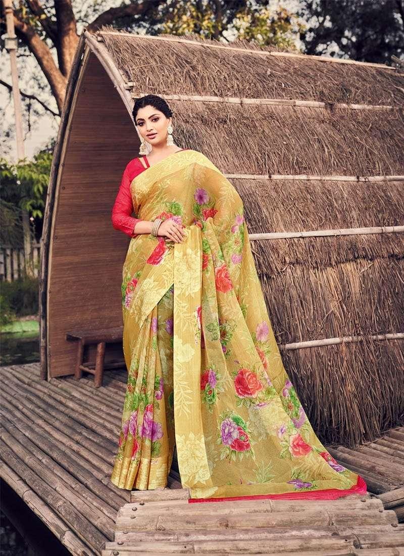 Lifestyle Akansha Puri Muslin Cotton Printed Sarees Collection 06