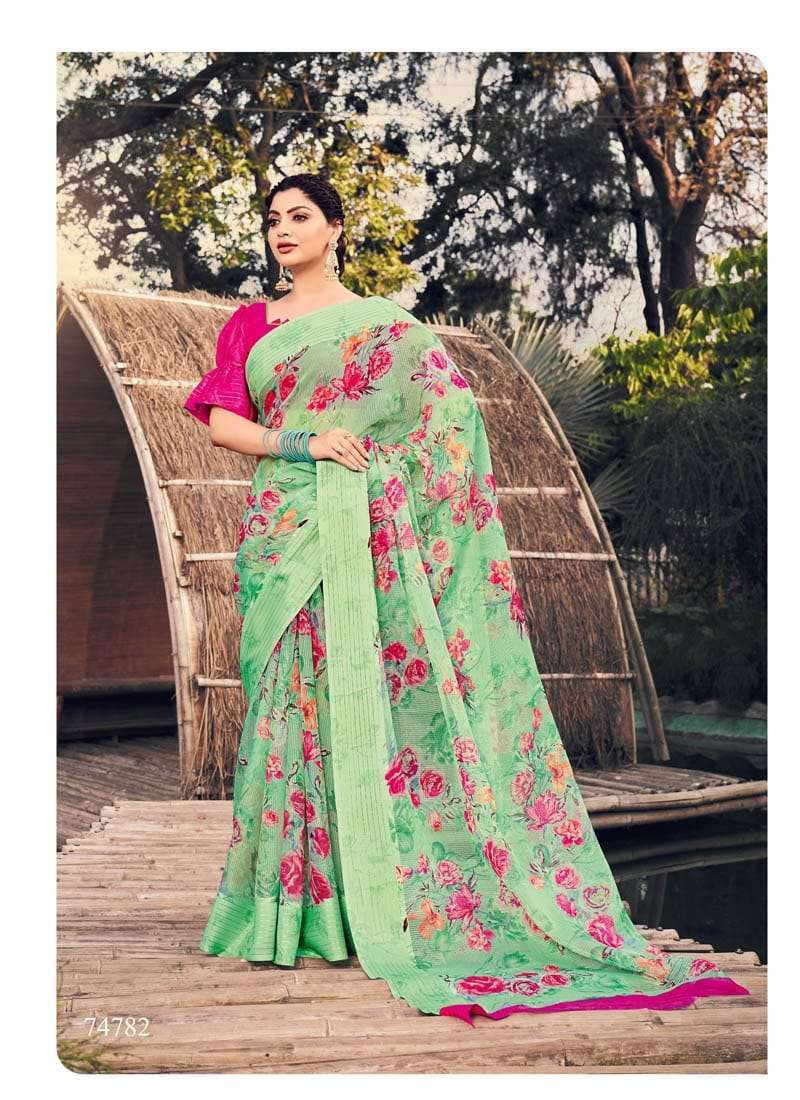 Lifestyle Akansha Puri Muslin Cotton Printed Sarees Collection 08