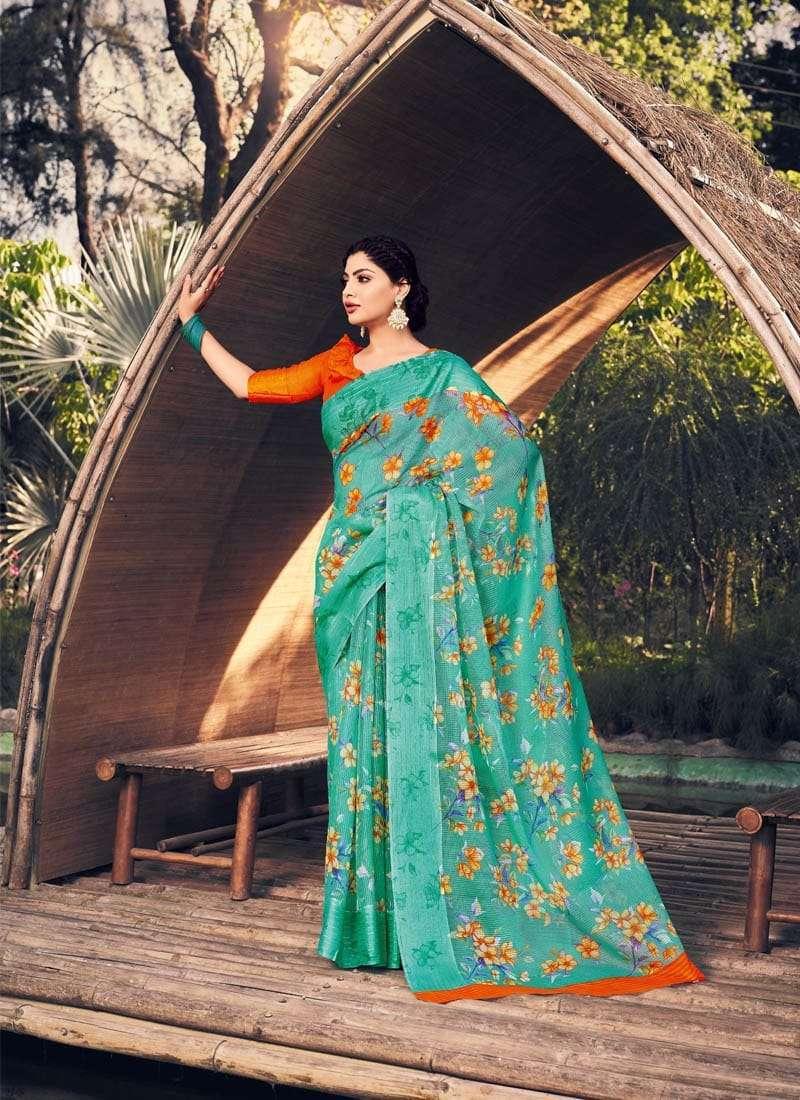 Lifestyle Akansha Puri Muslin Cotton Printed Sarees Collection 09