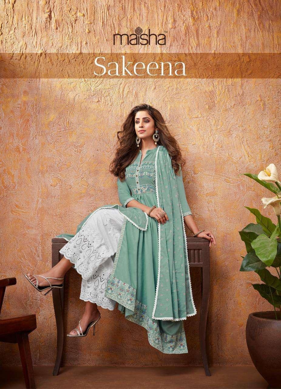 Maisha Maskeen Sakeena Heavy rayon Print With hand Work Readymade Suits Collection