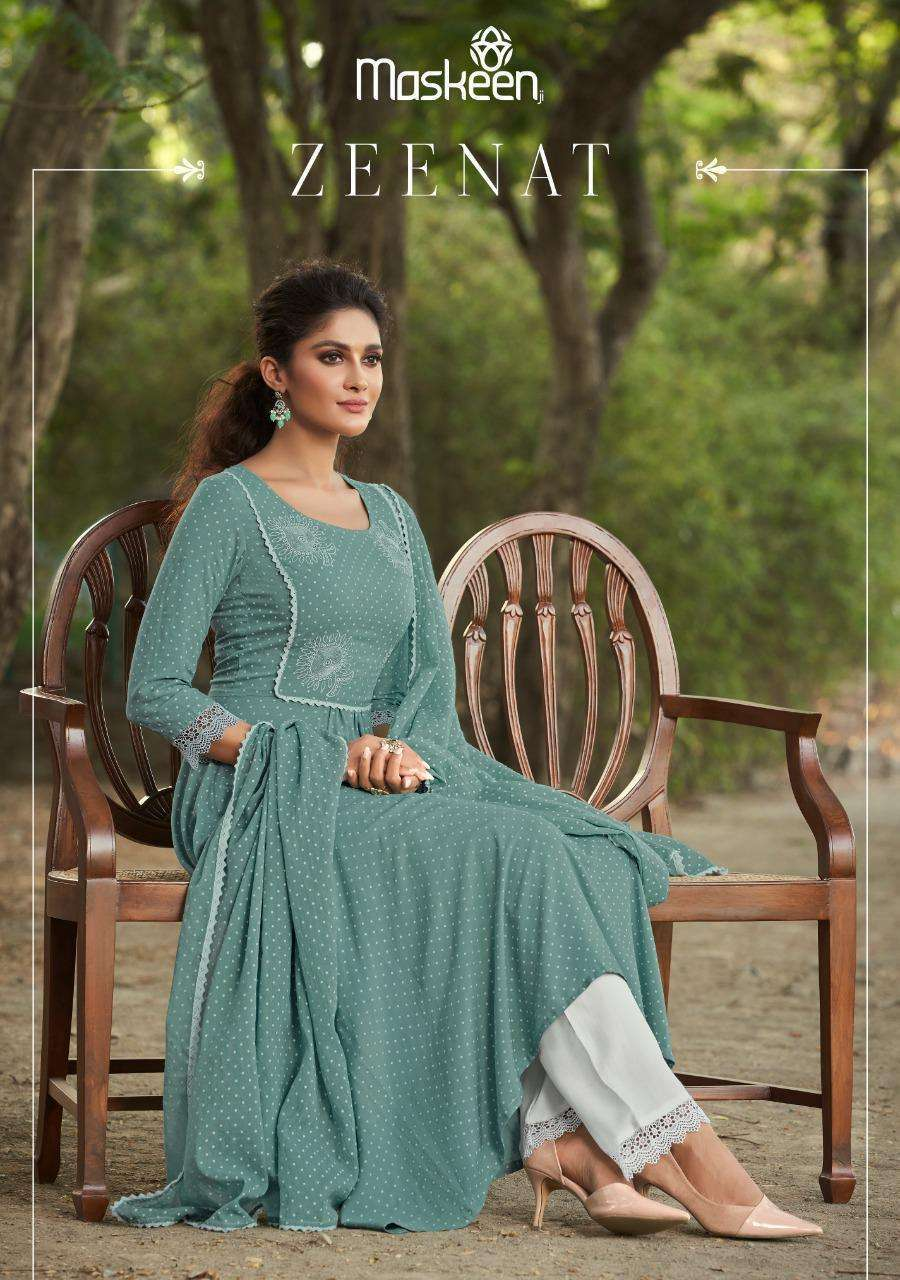 Maisha Maskeen Zeenat Rayon print With Embroidery Work readymade Suits Collection