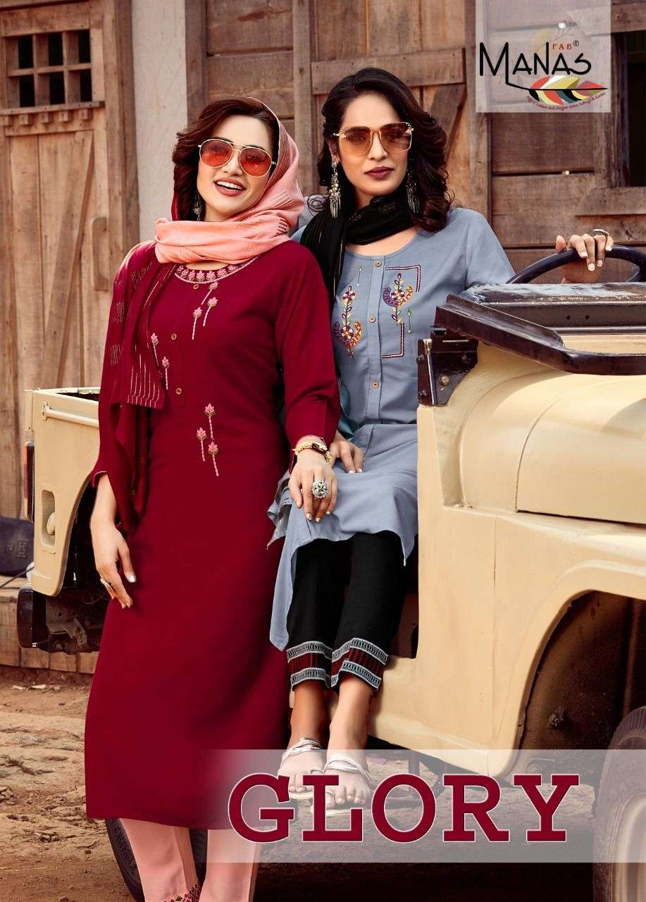 Manas Fab Glory Rayon With Embroidery Hand Work Kurtis With Bottom Dupatta collection