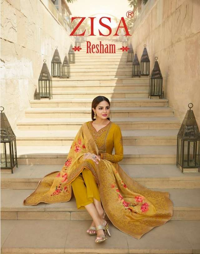 Meera Trendz Zisa Resham Tussar Satin With Embroidery Work Dress Material Collection