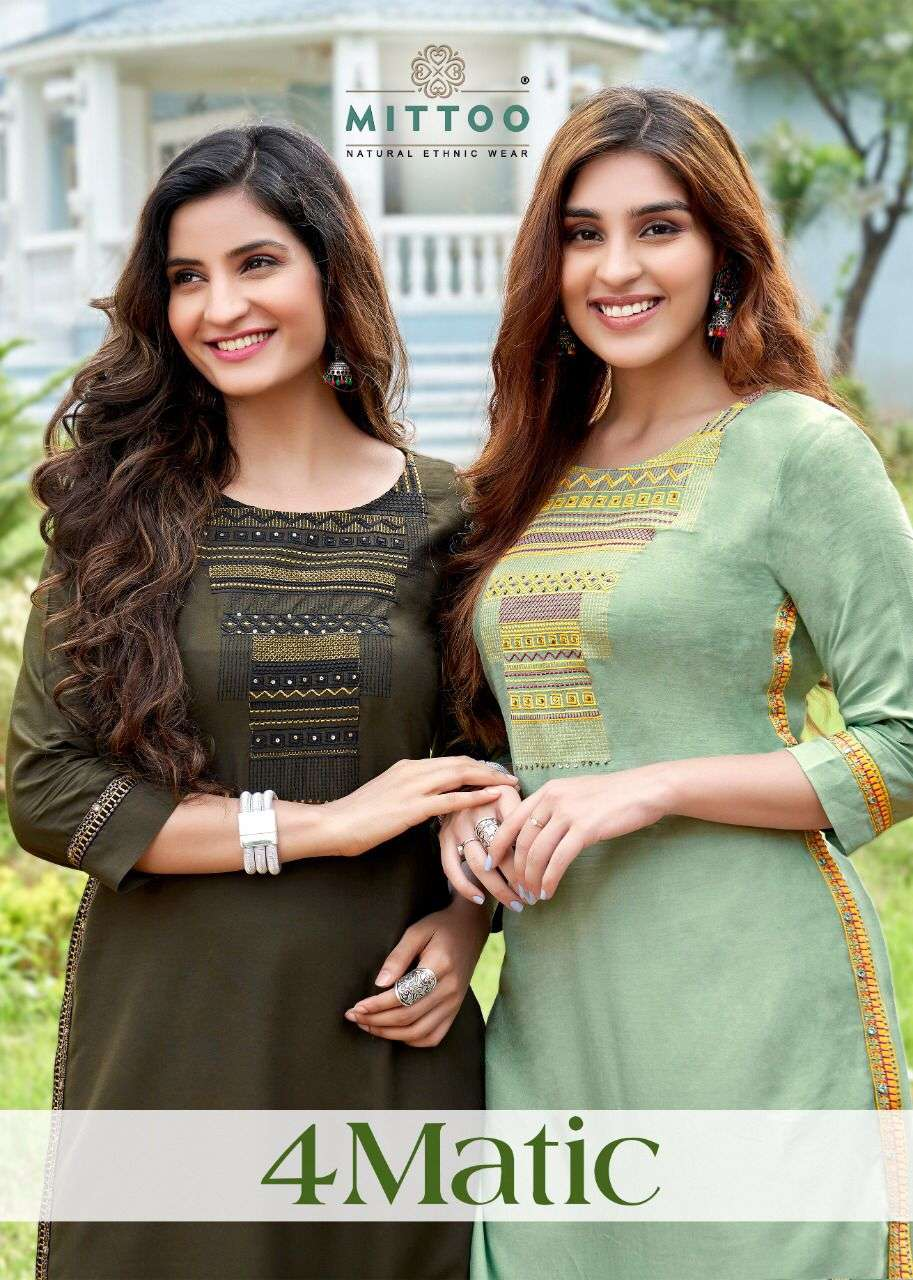Mittoo fashion 4Matic heavy Rayon With Embroidery Hand work Kurtis collection
