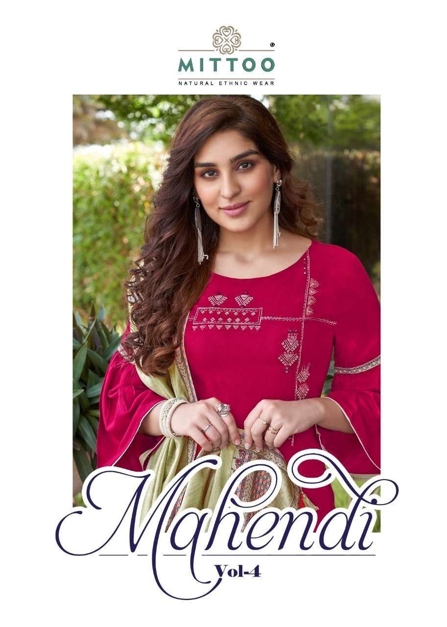 MITTOO FASHION MAHENDI VOL 4 HEAVY RAYON PRINT WITH EMBROIDERY WORK KURTIS WITH BOTTOM DUPATTA COLLECTION