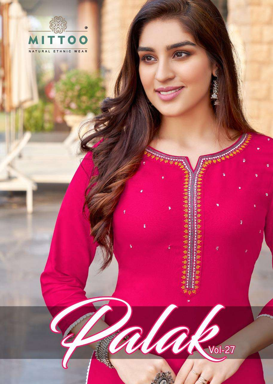 Mittoo fashion Palak Vol 27 Heavy rayon With Work Kurtis collection