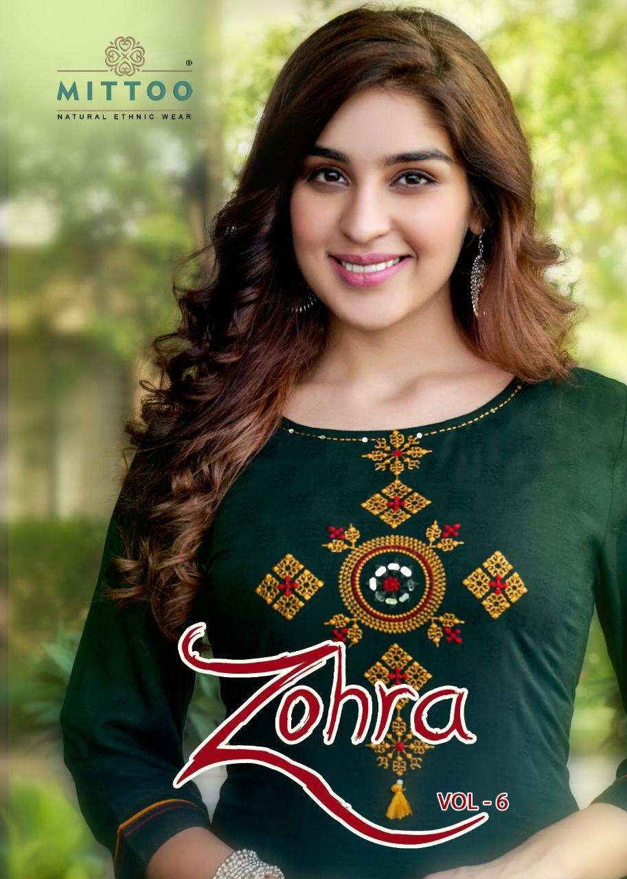 Mittoo fashion Zohra Vol 6 Nylon Viscose rayon With hand Work Kurti With Sharara Collection