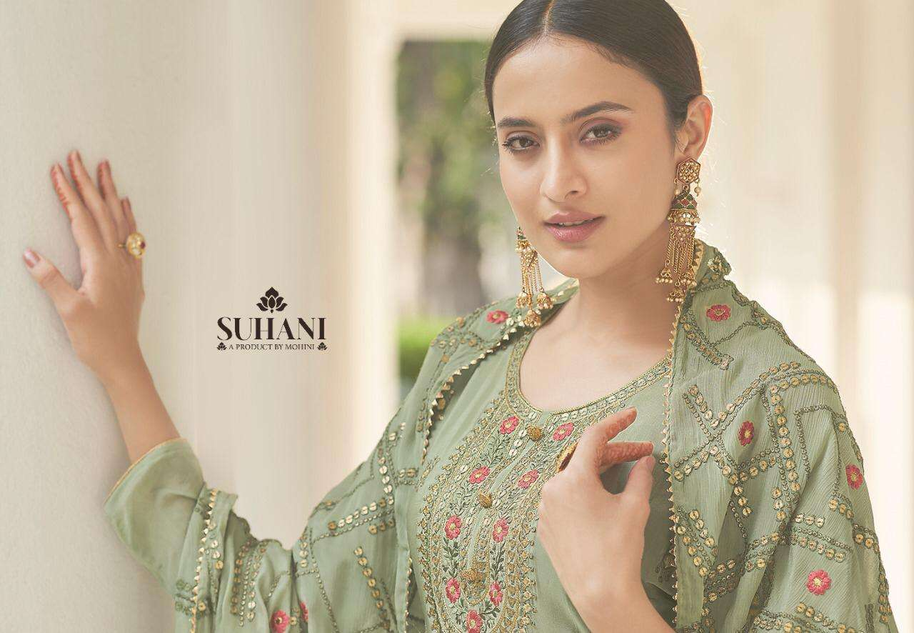 Mohini Fashion Suhani Pure Viscose Chinon With Embroidery Work Dress Material Collection