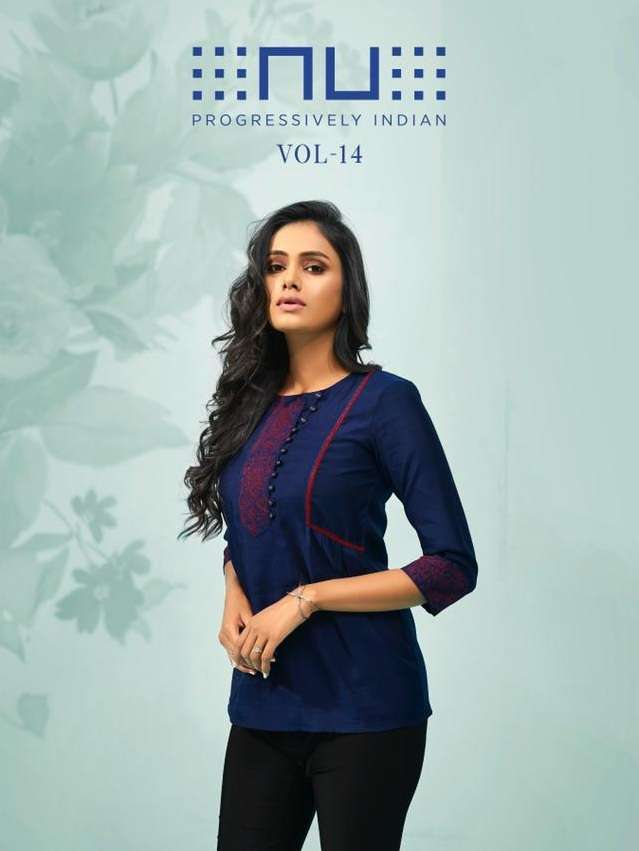 Nu Vol 14 Viscose Silk with Embroidery Work Short Tops collection