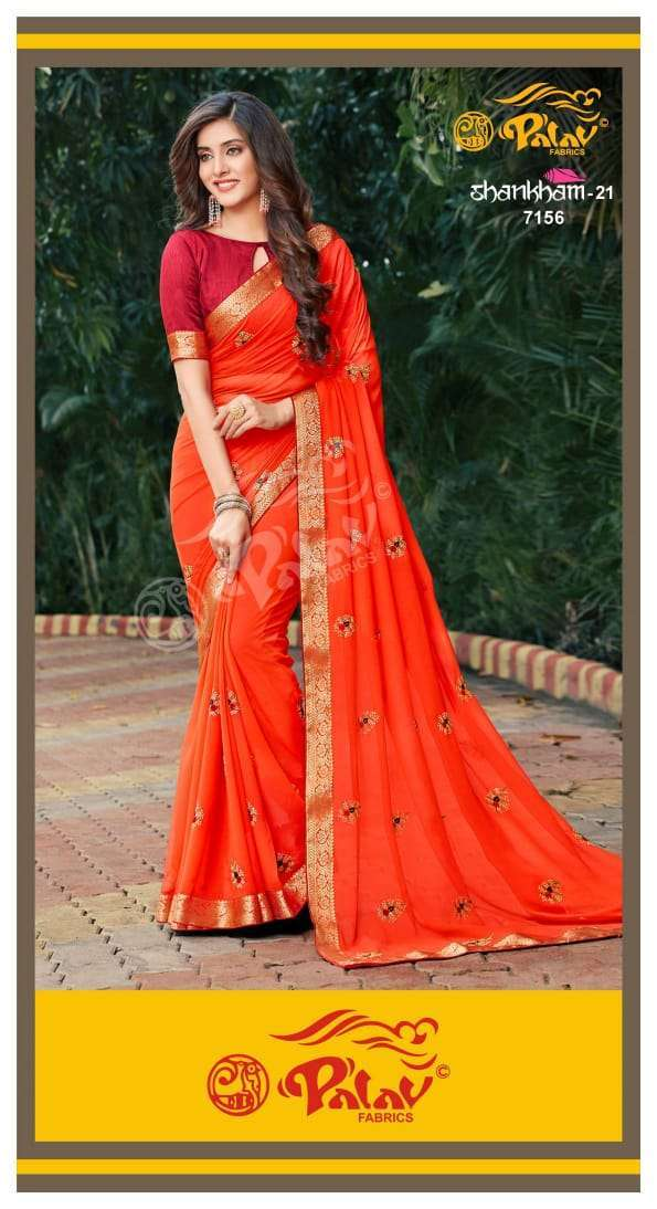Palav Fabrics Shankham Vol 21 Georgette With Work Sarees Collection 01
