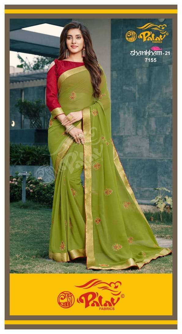 Palav Fabrics Shankham Vol 21 Georgette With Work Sarees Collection 04