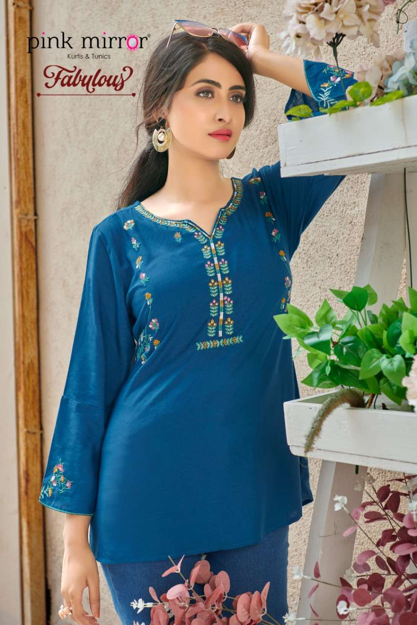 Pink Mirror Fabulous Rayon With Embroidery Work Casual Tops Collection