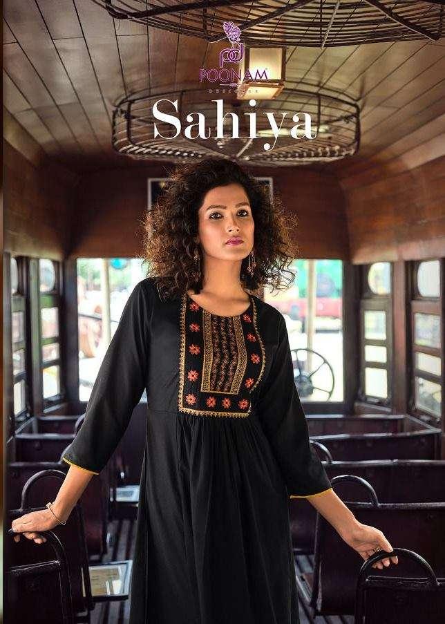 Poonam Designer Sahiya Malai rayon With Embroidery work Kurtis collection