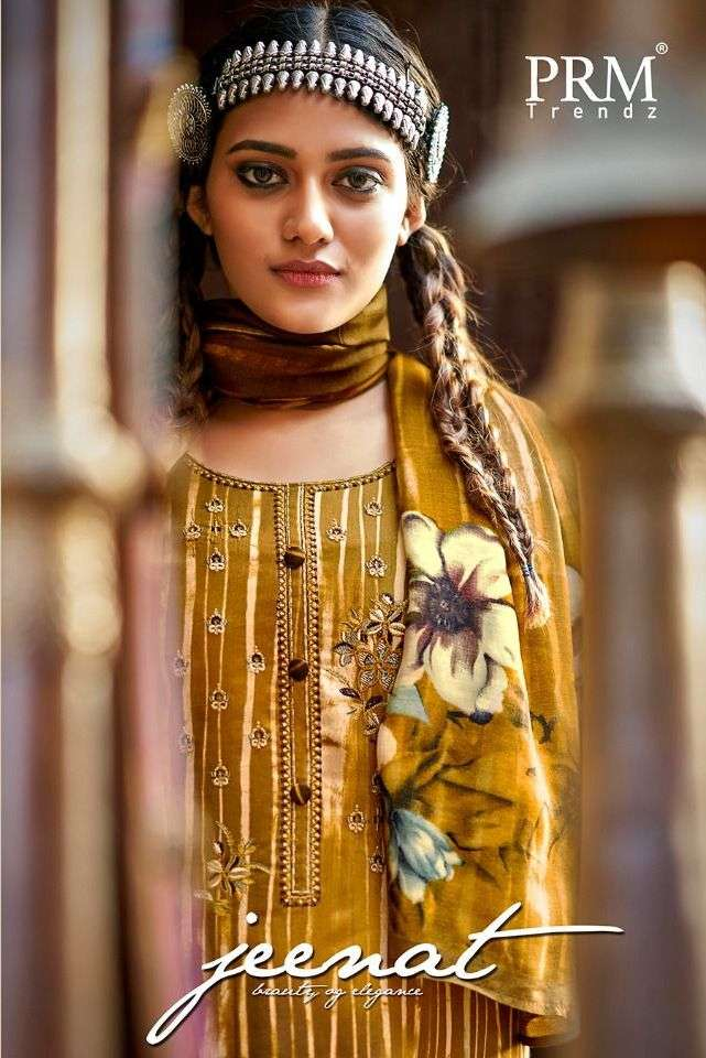 PRM Trendz Jeenat Jam Cotton Digital print With Embroidery Work Dress Material collection