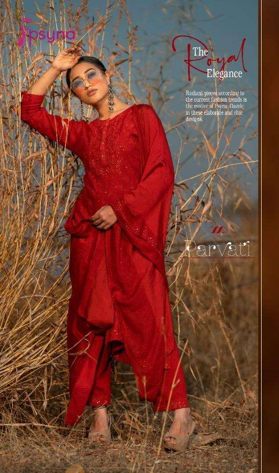 Psyna Parvati Rayon With Lucknowi Sequence Work Kurti With Pant Dupatta collection