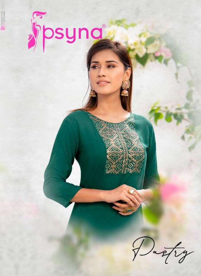 Psyna Pastry Vol 2 Rayon With Fancy Work Kurtis Collection
