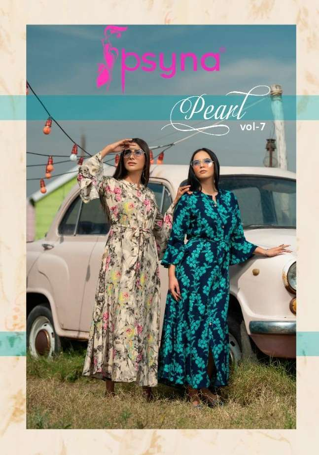Psyna Pearl Vol 7 Rayon printed Long Gown Style Kurtis collection