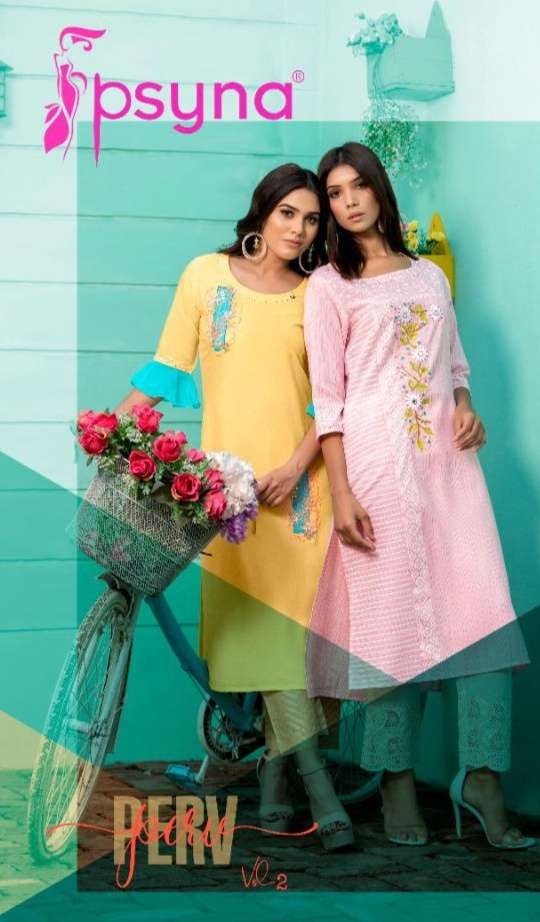 Psyna Perv Vol 2 Viscose With Fancy Work Kurtis collection
