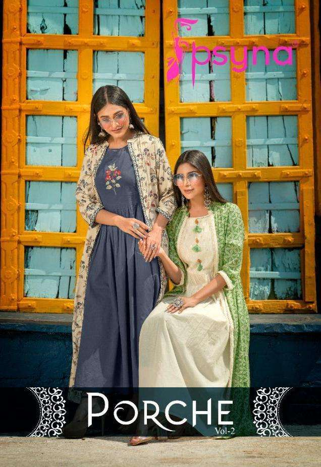Psyna Porche Vol 2 rayon With Fancy Work Kurti With Long Shrug Collection