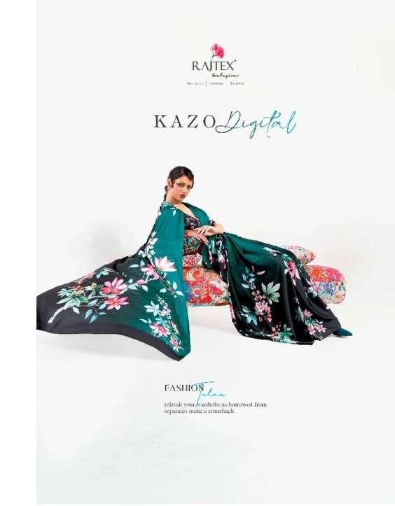 RAJTEX KAZO DIGITAL JAPAN SATIN CREPE SAREE COLLECTION  AT WHOLESALE RATE