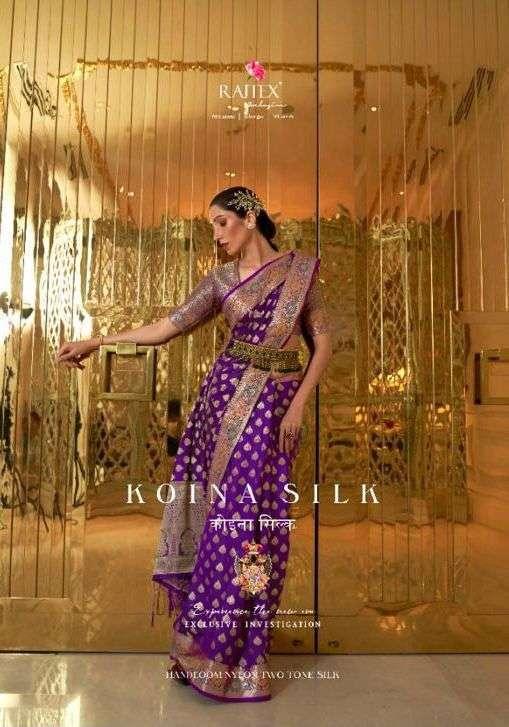 Rajtex Koina Silk Sana Silk Nylon With Meena Border Sarees Collection