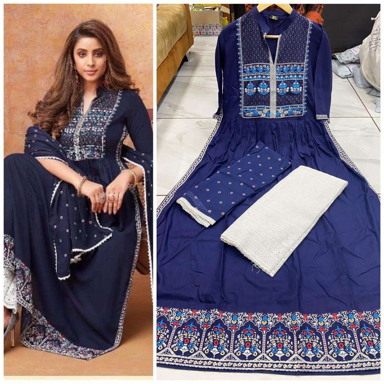 Rakhi Special Rayon Printed With Work Kurti With Palazzo Dupatta Collection 03
