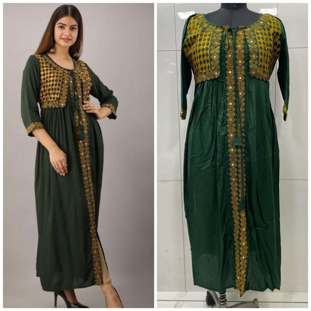 Rayon Cotton With Embroidery Mirror Wotk Kurti With Koti Collection 01