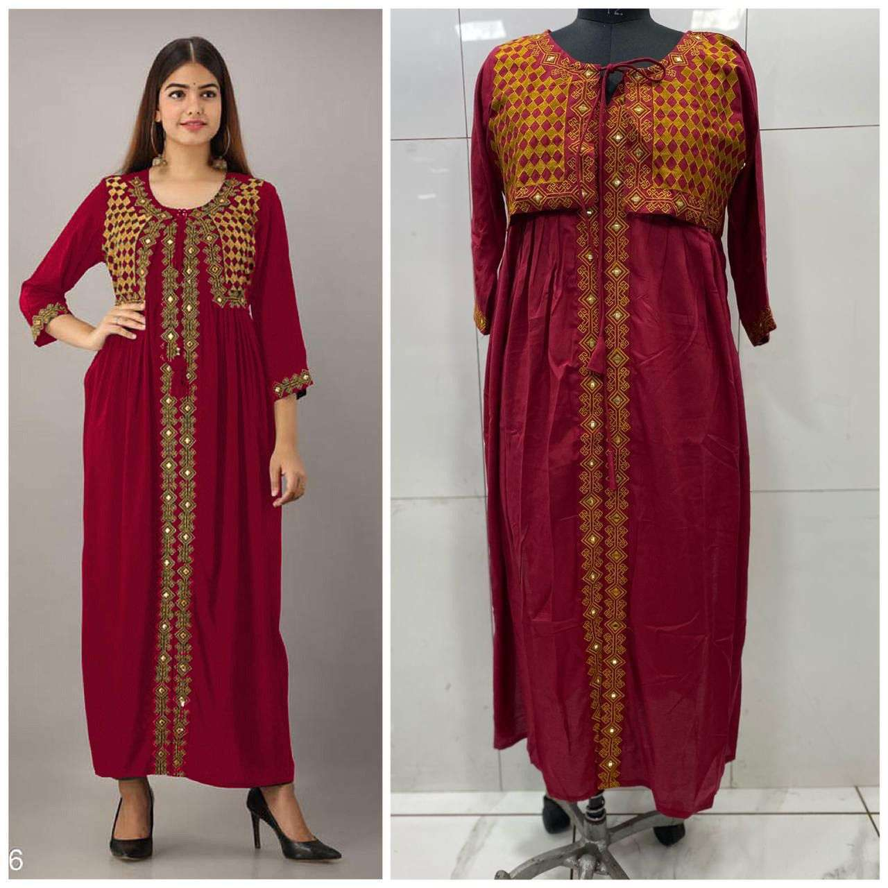 Rayon Cotton With Embroidery Mirror Wotk Kurti With Koti Collection 02