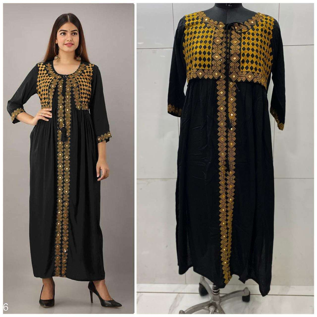Rayon Cotton With Embroidery Mirror Wotk Kurti With Koti Collection 03