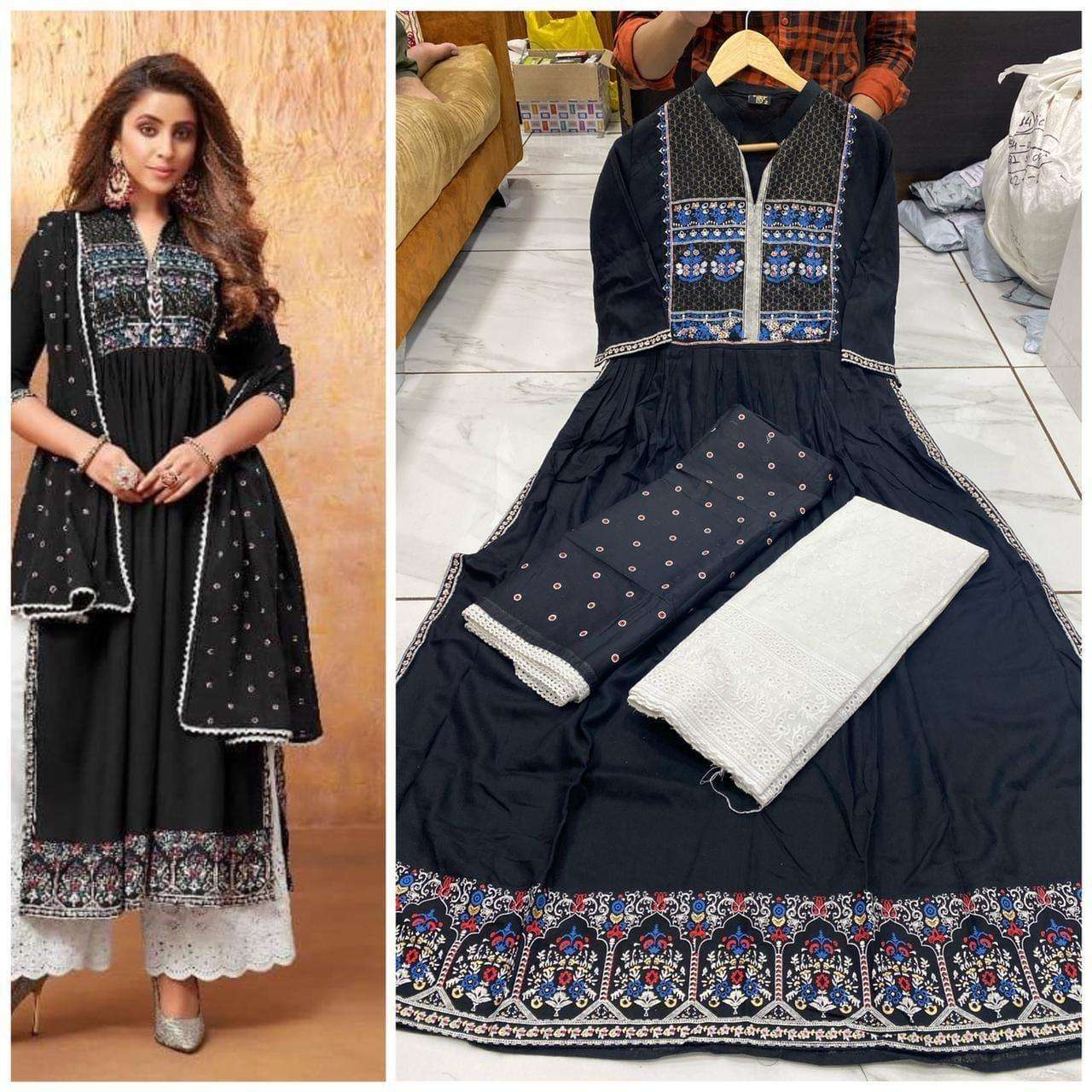 Rayon Printed With Work Long Flair blue Gown Collection 04