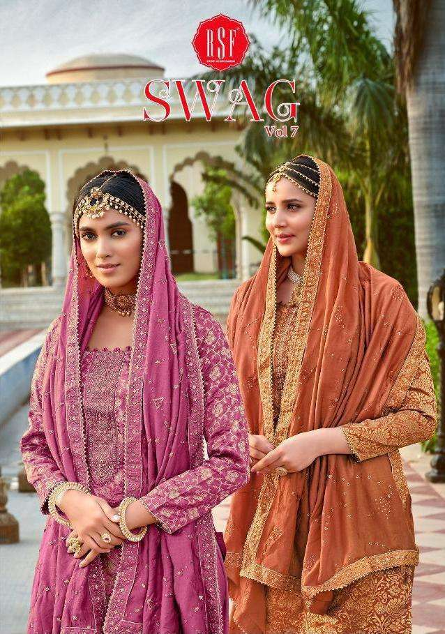 RSF Swag Vol 7 silk jacquard with Embroidery Hand Work Dress Material collection