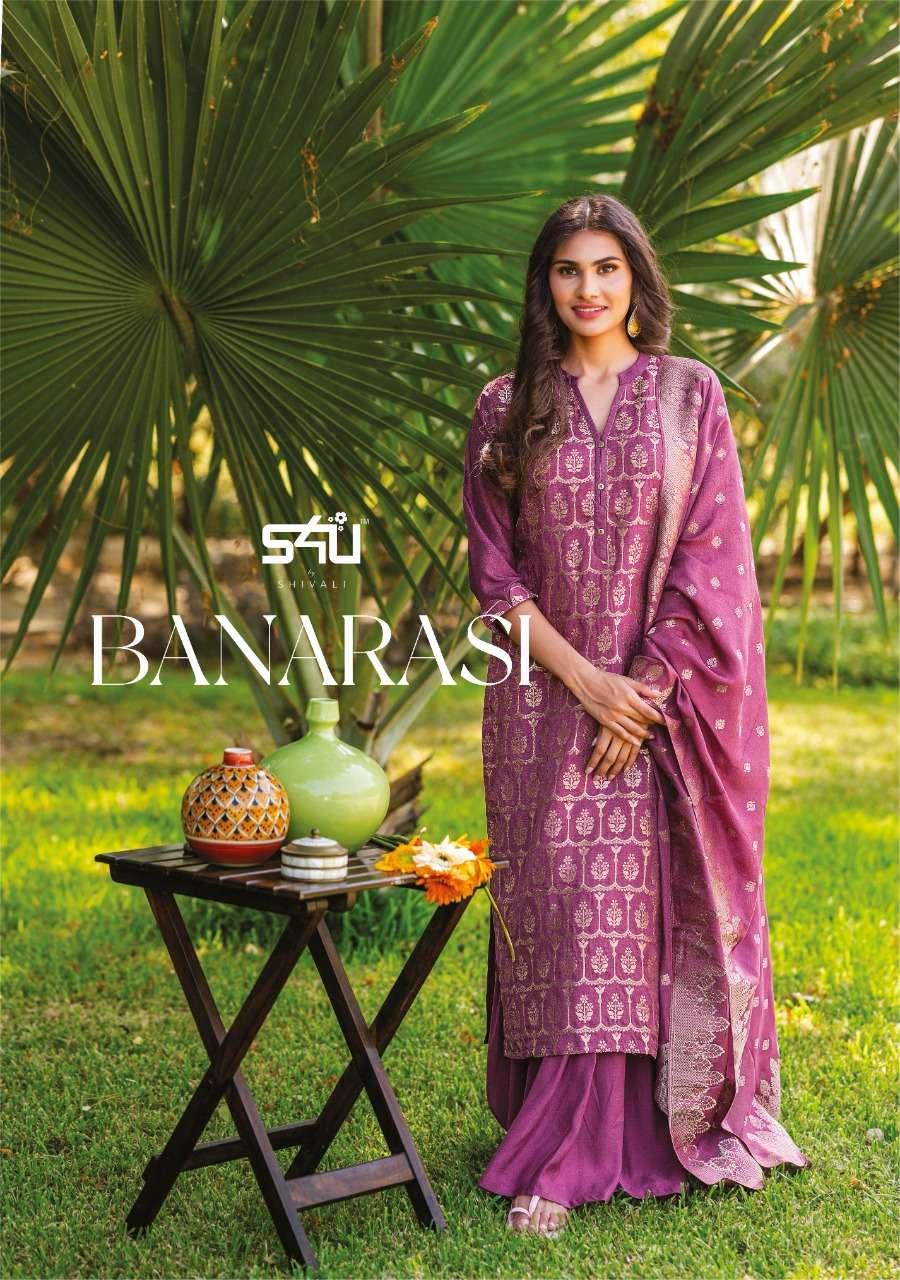 S4U Banarasi Fancy Hand Work Kurtis With Sharara Dupatta Collection