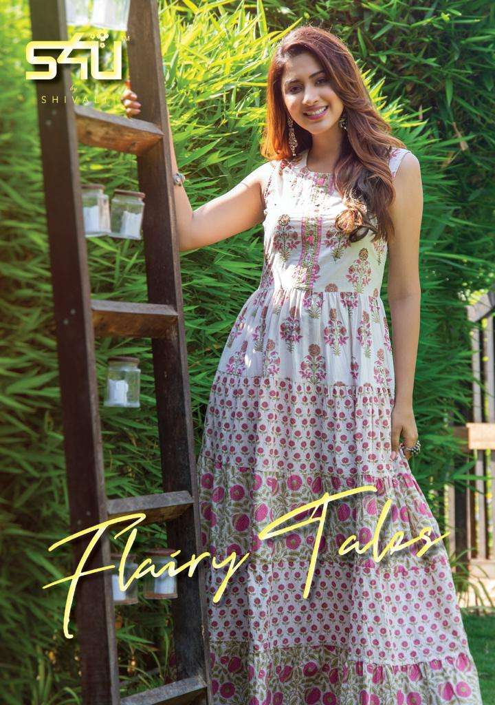 S4u Flairy Tales Cotton Printed With Work Long Gown Style Kurtis Collection