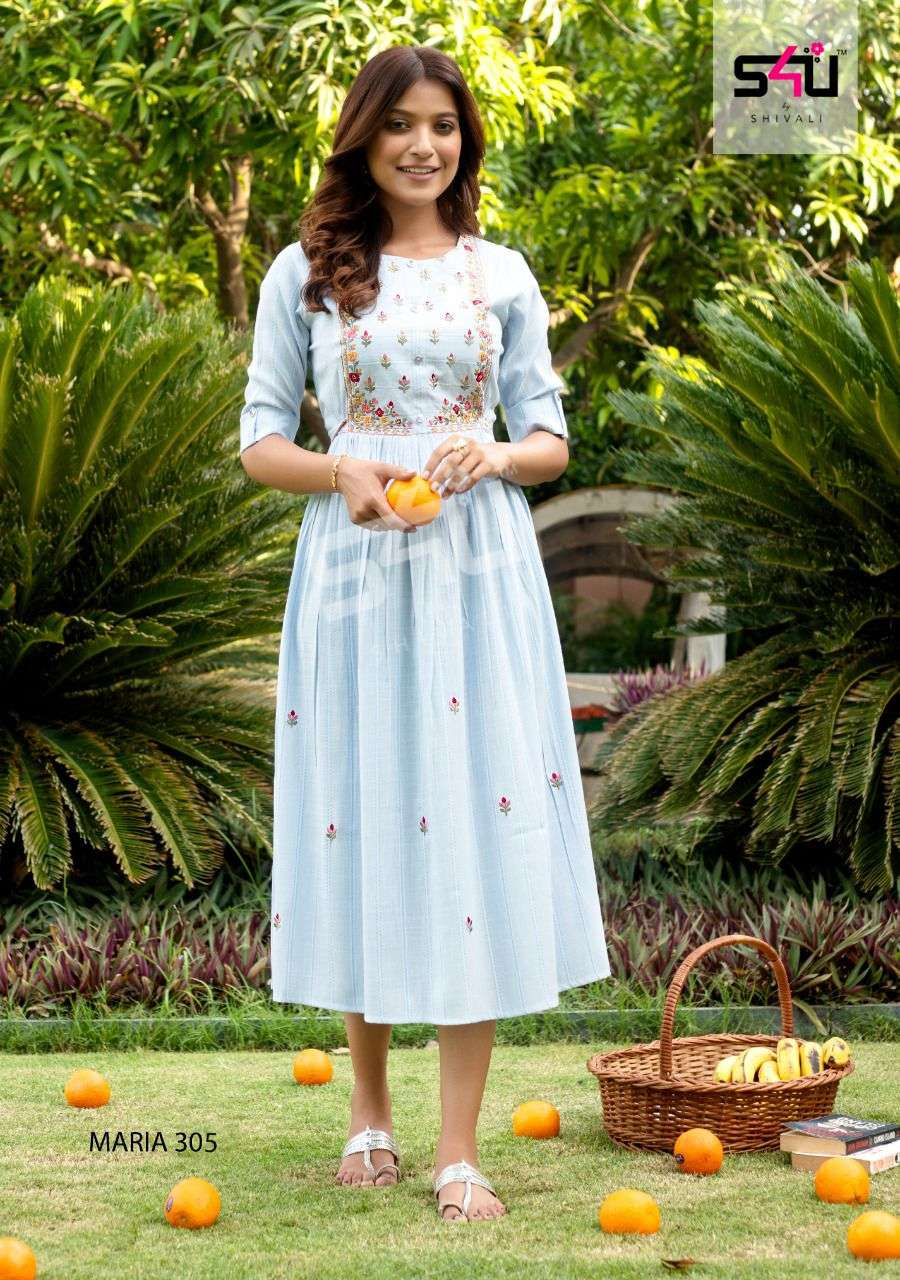 S4U Maria Vol 3 Fancy With Hand Work Kurtis collection