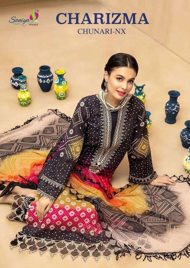 Saniya Trendz Charizma chunari NX Pure Cambric Print With embroidery Work Pakistani suits collection
