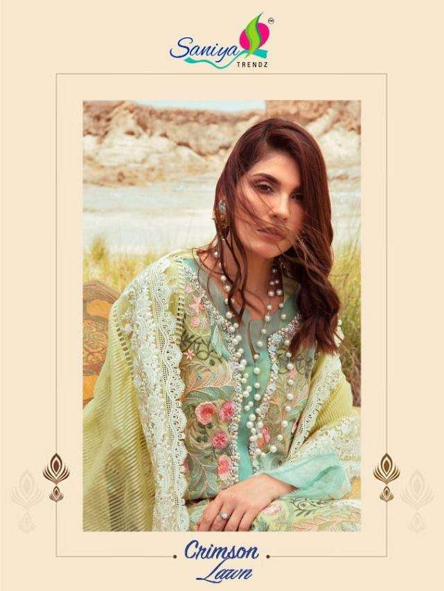 saniya Trendz Crimson Lawn Cambric Cotton with Embroidery Work Pakistani Suits Collection