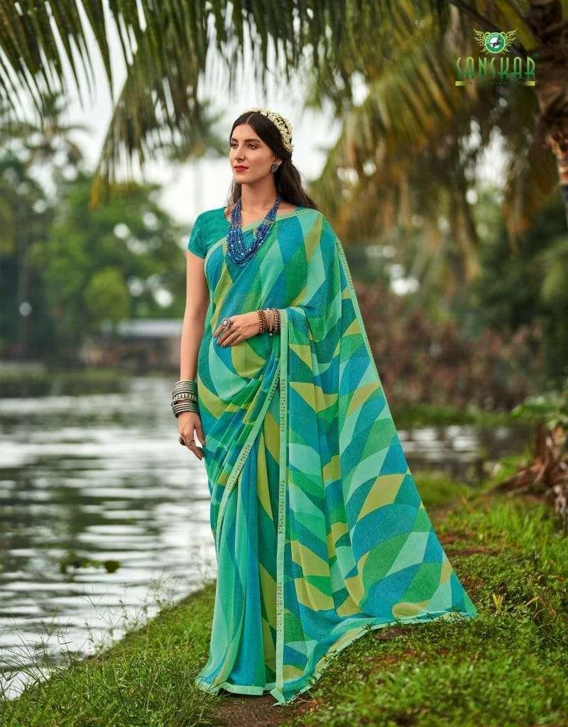 Sanskar tex Prints Meera Pure Georgette With Fancy Border Sarees Collection