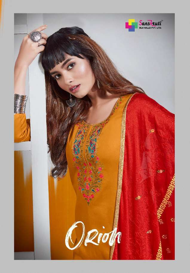 Sanskruti Orion Pure Jam silk With embroidery work Dress Material collection