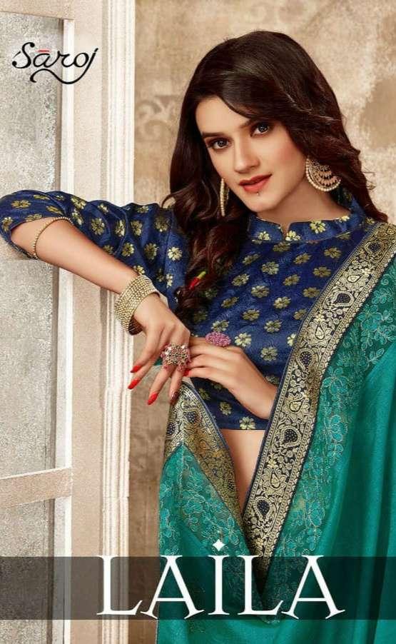 Saroj Laila Soft Vichitra Silk With Work Sarees Collection