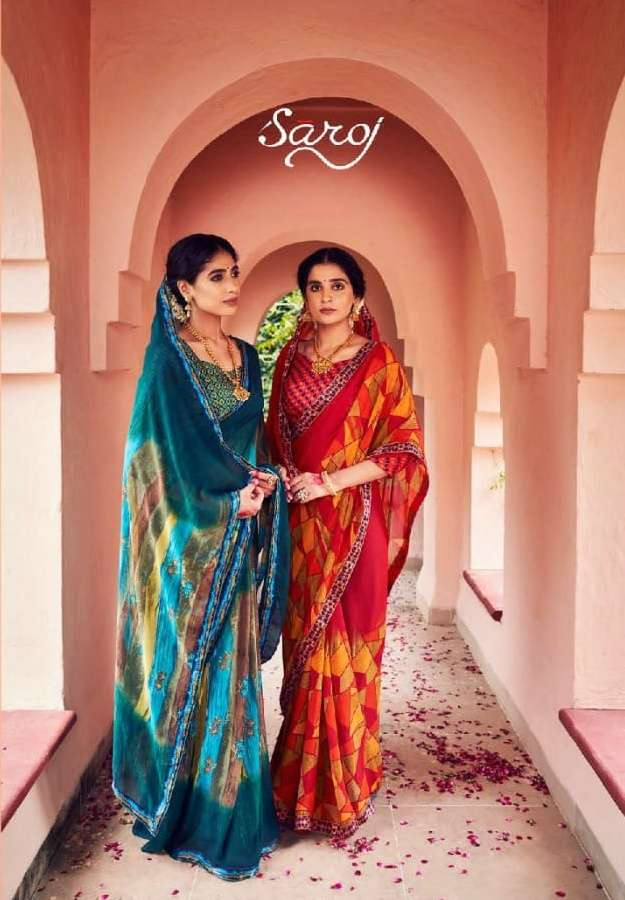 Saroj Mishita Georgette Printed Sarees collection