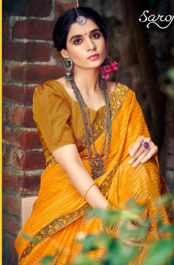 Saroj Sanwaree Georgette With Satin patta Sarees collection