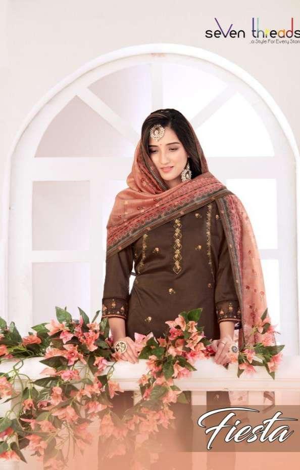 Seven Threads Fiesta Viscose Silk With Embroidery Khatli Work Kurti With Palazzo Dupatta Collection