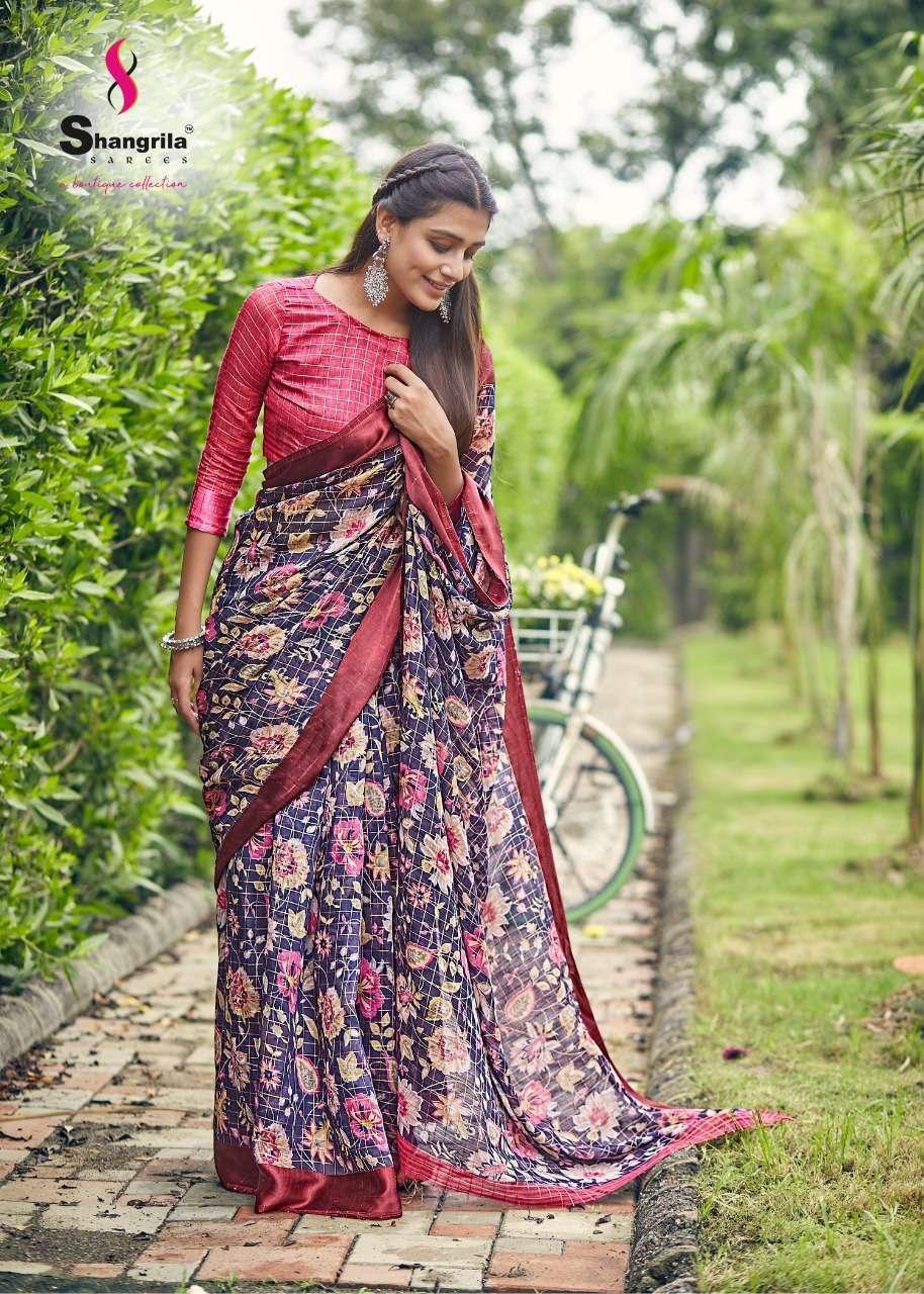 Shangrila Sakhiya Linen Viscose Checks With Digital Print Sarees Collection