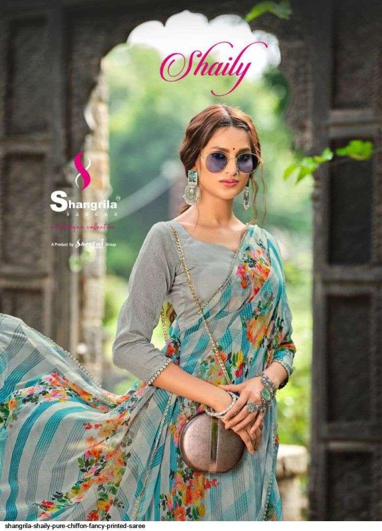 Shangrila Sarees Shaily chiffon printed Border Sarees Collection