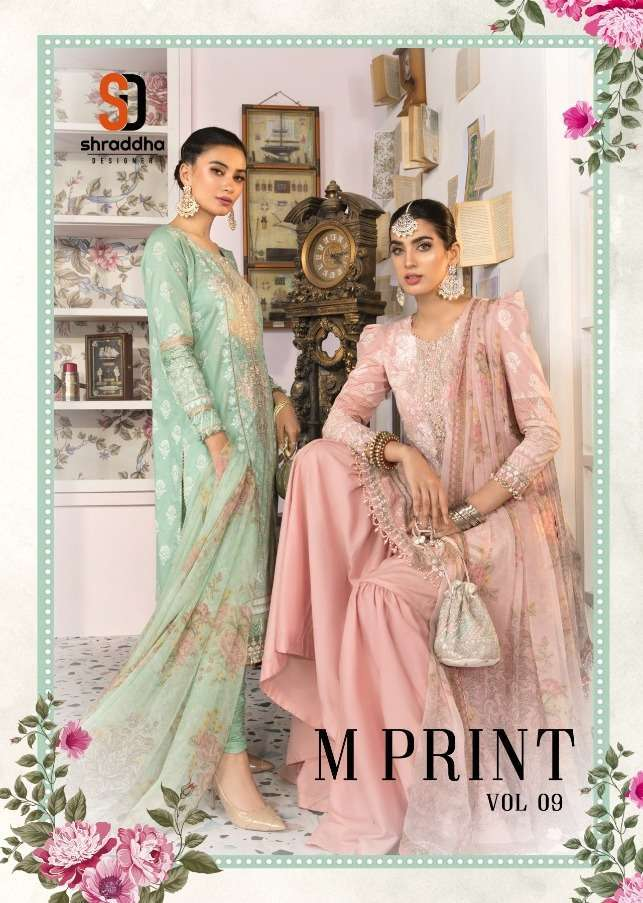 Shraddha Designer M print Vol 9 Lawn Cotton Print With Embroidery Work Pakistani Suits collection