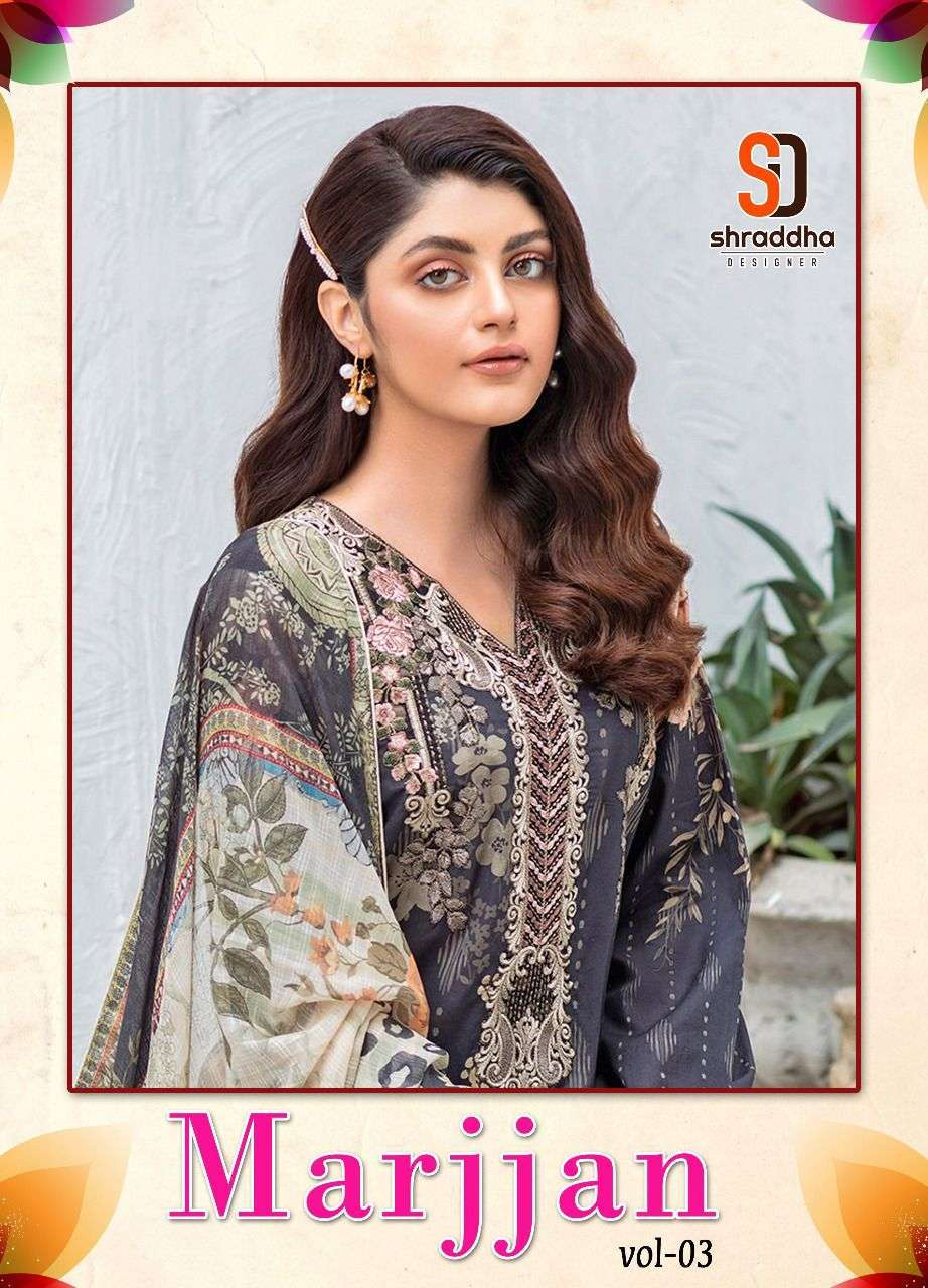 Shraddha Designer Marjjan Vol 3 Lawn Cotton Printed With Embroidery Work Pakistani Suits Collection