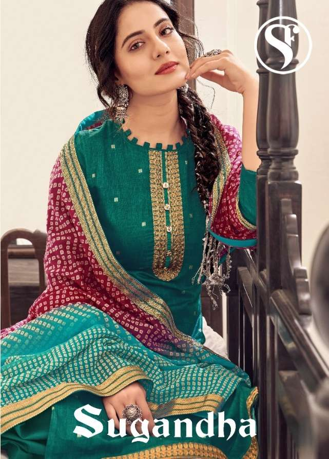 Sweety Fashion Sugandha Cotton Satin Foil Print Dress material collection